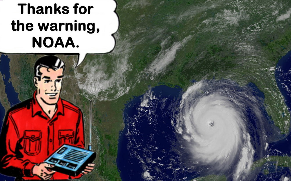 Both the hurricane background and the cartoon image found on NOAA website and copyright that agency.