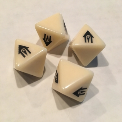 The most recent prototype advantage dice.