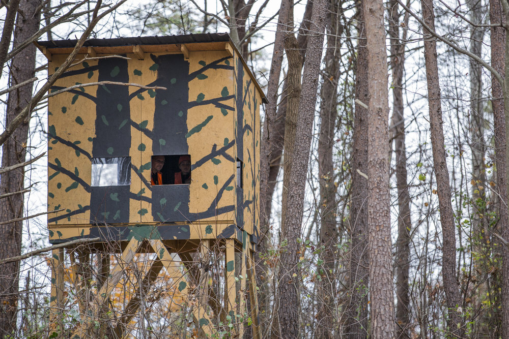 Tom and Tristen sit in their tree stand in Wellston, Ohio, on November 18, 2017. Tom built the stand roughly 5 years ago, and it's now used primarily as a site to teach Tristen because of its large size.