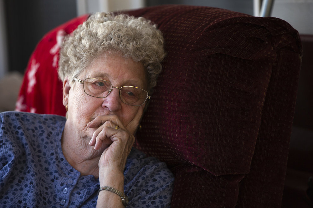 "Mary Jo Bycofski sits on her porch and mourns the loss of her great granddaughter. The child was unresponsive at birth and was taken off life support a few days after birth. ""We've never felt a loss like this"" said Larry Bycofski. The Bycofski's moved to Glouster in 1960 and raised five kids who have all stayed within an hour from their original home to raise their own families."