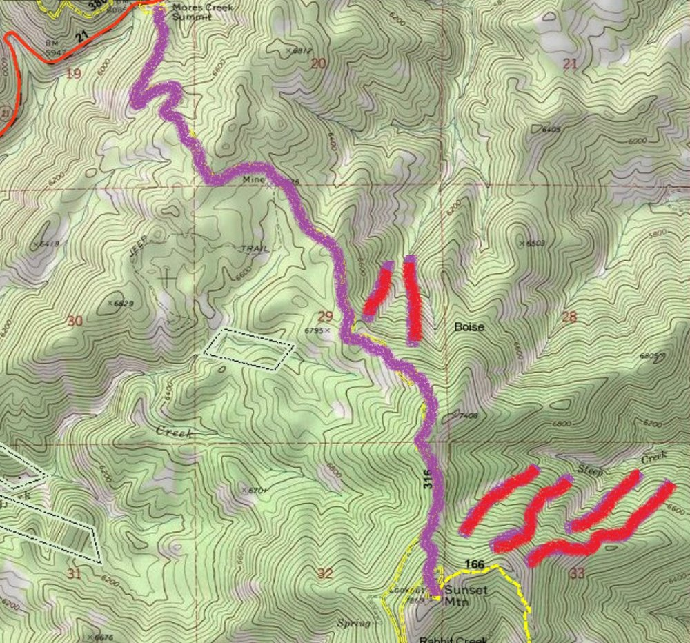 Sunset Peak.  Route from Mores Creek Parking Lot shown in Purple. Possible ski line in red.