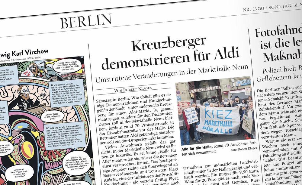 """In Berlin hat die SPD zusammen mit Anwohnern zu Protesten gegen die """"Luxus-Fressmeile"""" Markthalle Neun und für den Discounter Aldi aufgerufen. """"Food-Hipster"""" wie ich sind für die Demonstranten unerwünscht."""