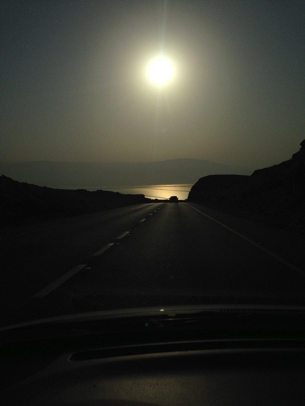 Sunrise driving to Ein Bokek
