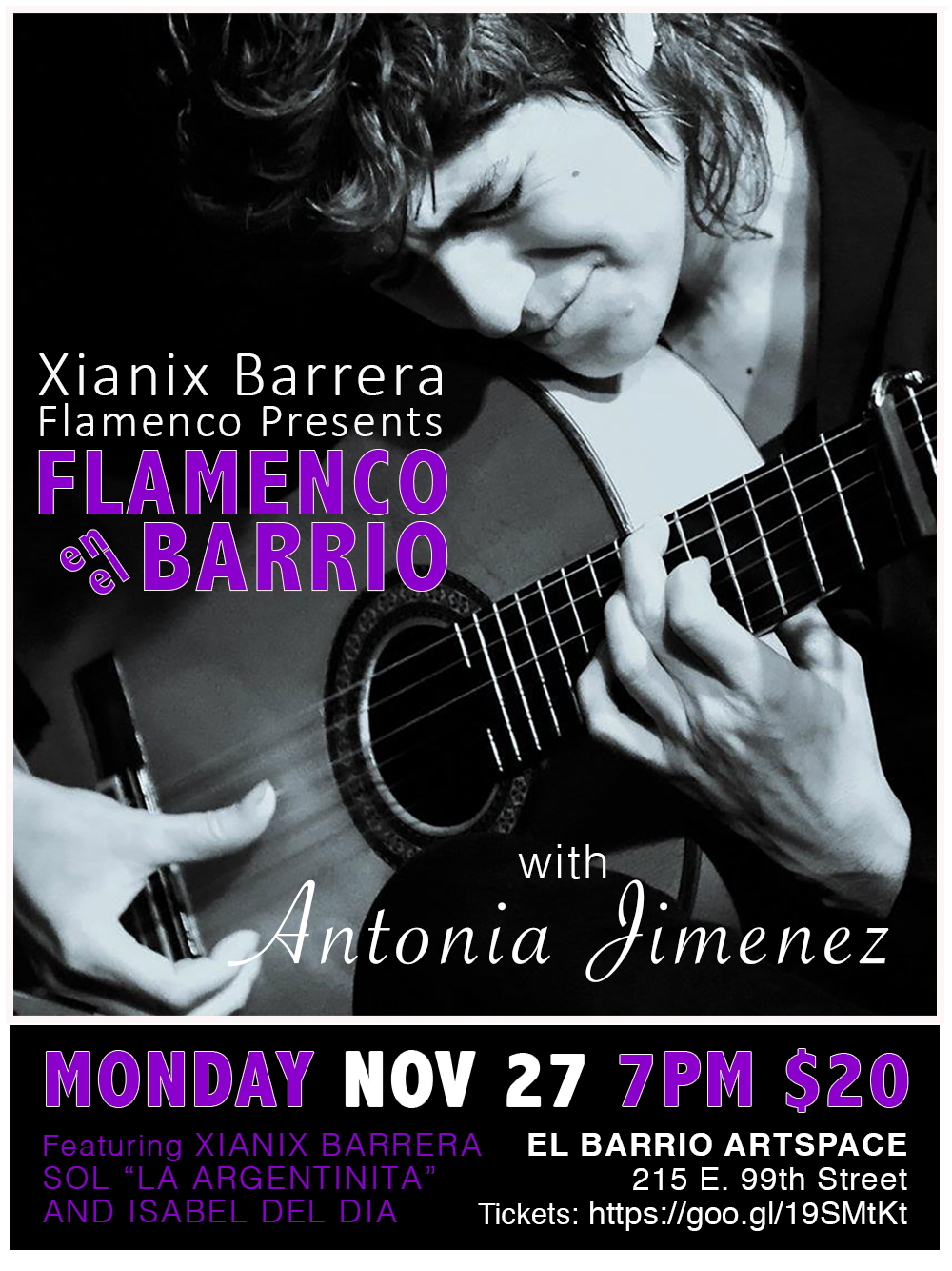 Monday, Nov 27 - 7pm - Join us for a special evening with Antonia Jimenez, one of Spain's finest and in demand flamenco guitarists. Antonia will share her music, and her journey as one of flamenco's few female guitarists. Come experience the creative genius of this unique tocaora in an intimate setting with Xianix Barrera, Glenda Sol and Isabel del Dia.
