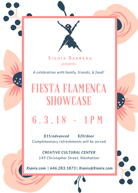 Sunday, June 3rd - 1pm - Join us for a fun-filled afternoon of flamenco music, dance, and libations from Spain! Xianix Barrera's students from ages 5-85yrs old come together to share their love for flamenco at the Creative Cultural Center! This year's student showcase will charm you with the graceful hand movements, the fast foot-stomping, and the joyful hand-clapping of our dancers. Enjoy the live and indirect music of Alfonso Cid, Adrian Alvarado, and WaLid Guzmán as they accompany our soulful Tangos de la Repompa, Sevillanas, Solea por Bulería, Alegrías, Rumba Flamenca and much much more! Raffles, delicious tapas and drinks to follow the performance.