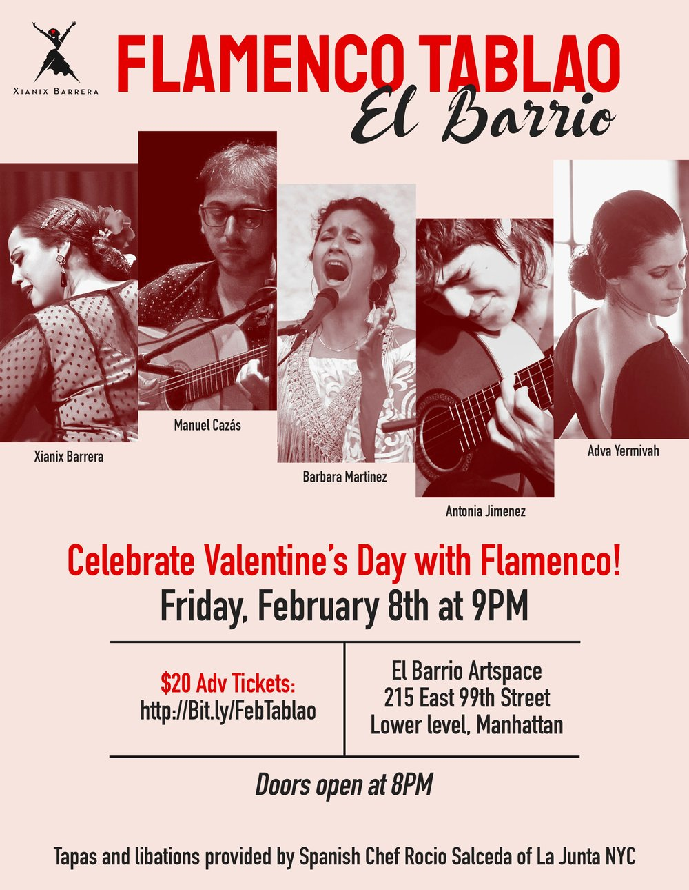 Fri. February 8, 2019 - 9pm - FLAMENCO TABLAOFeaturing Guest Artists Antonia Jimenez, Manuel Cazás and Adva Yermivahwith Barbara Martinez and Xianix Barrera.