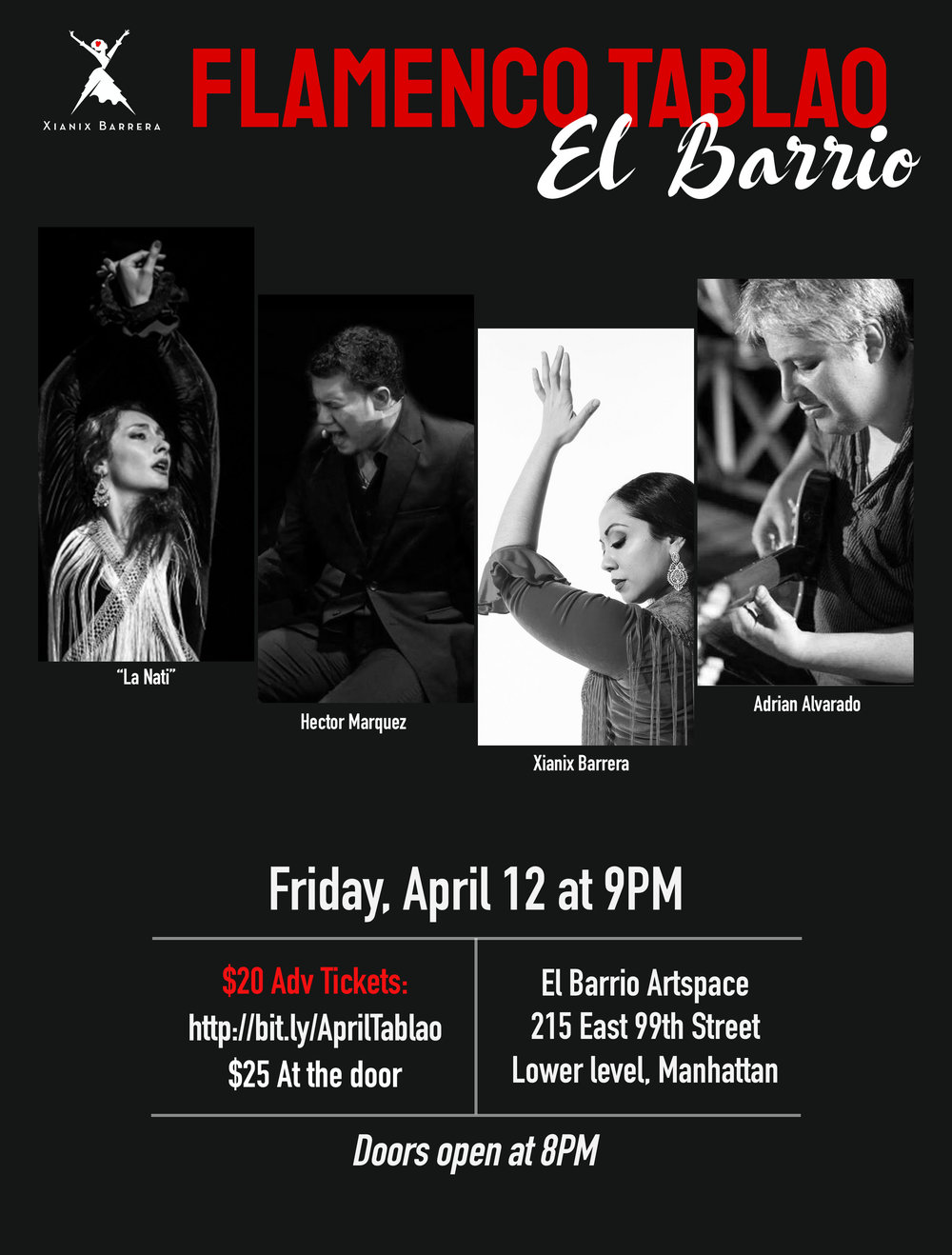 Fri. April 12th - 9pmMONTHLY FLAMENCO TABLAO SHOW - EVERY SECOND FRIDAY OF THE MONTH,IN THE HEART OF SPANISH HARLEM