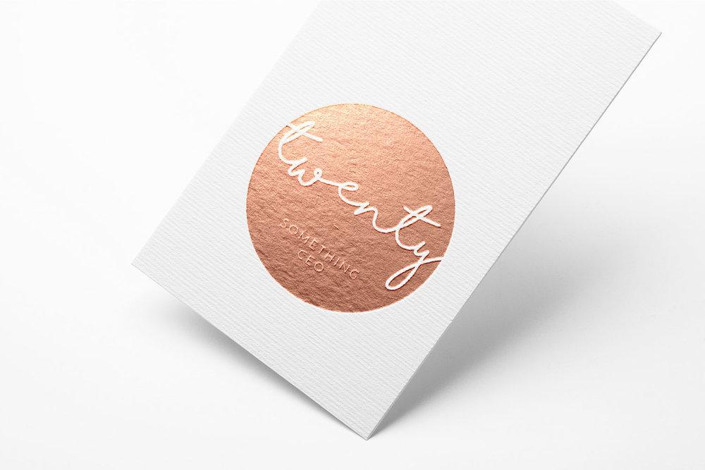 Twenty Something CEO copper foil logo.