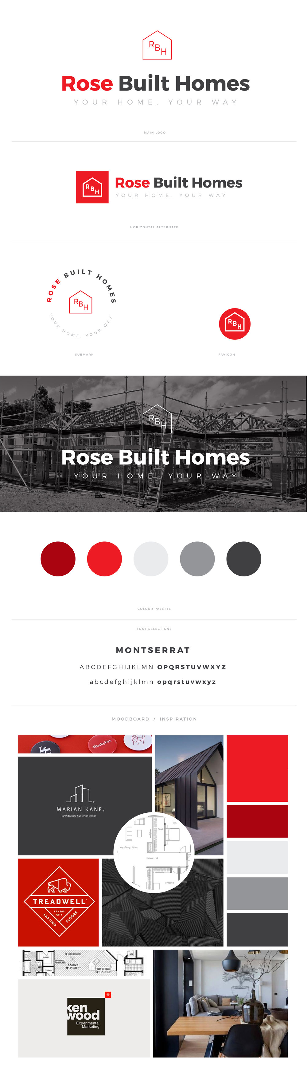 Rosebuilt Homes brand board.