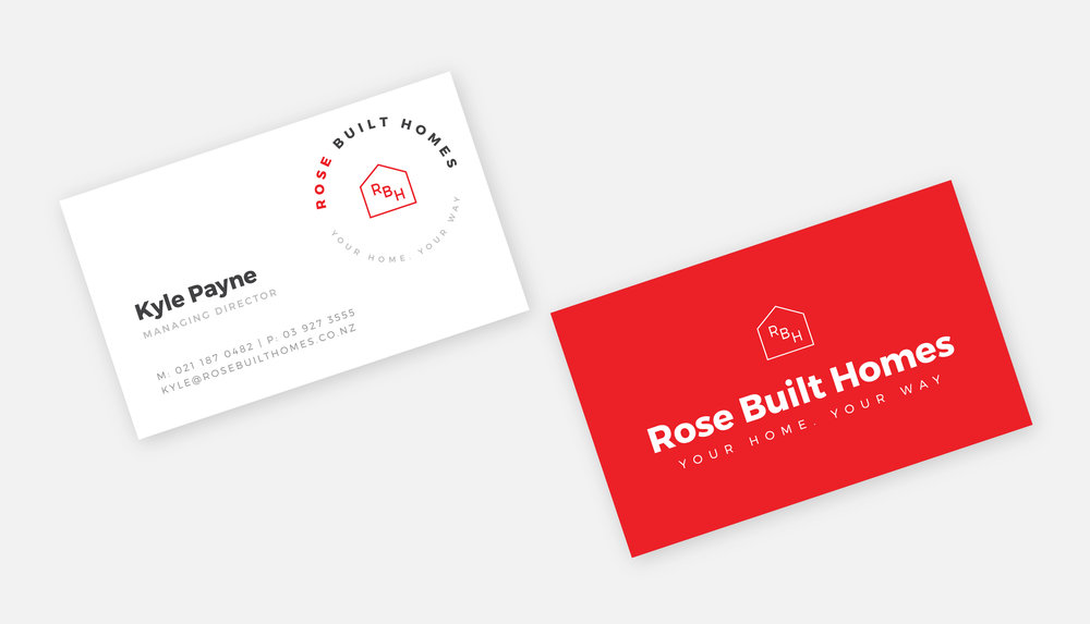 Rosebuilt Homes business cards.