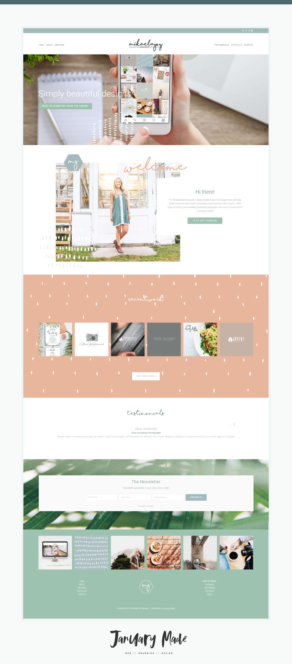 Mikaela Joy Designs Squarespace website.