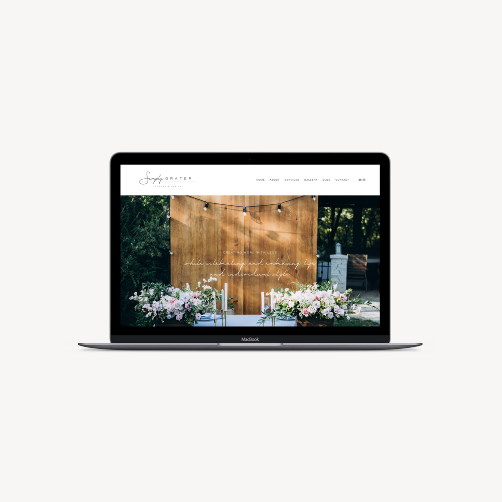 Simply Grater Events website by January Made Design