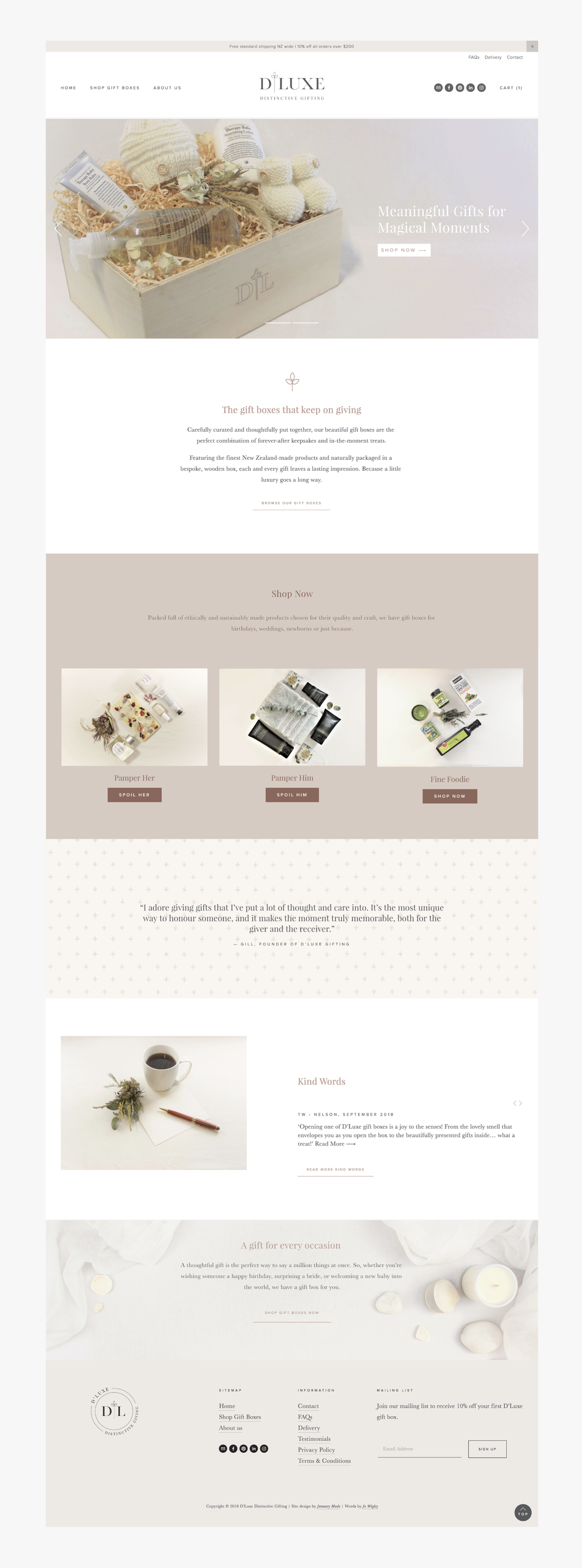 D'Luxe Distinctive Gifting website - January Made Design