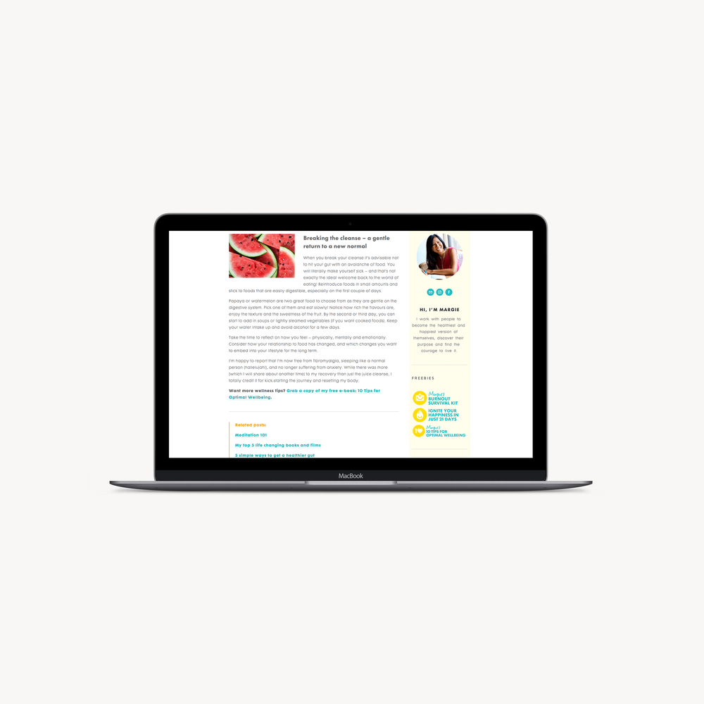 Margie's Hi-Vibe Life website - by January Made Design