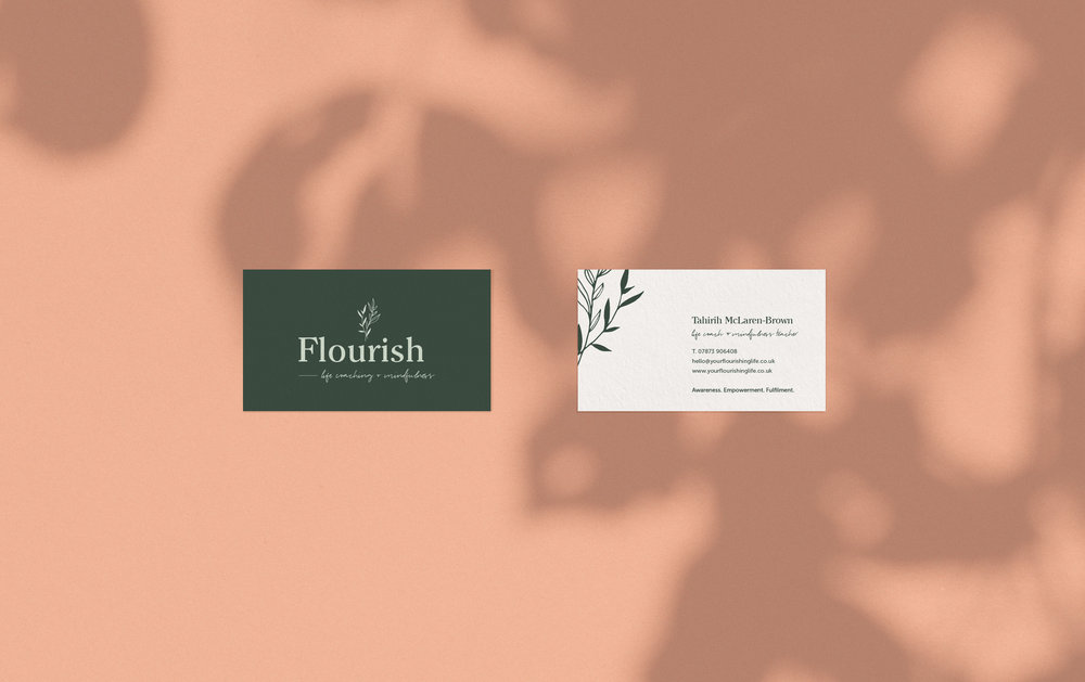 Flourish Life Coaching business cards - By January Made Design