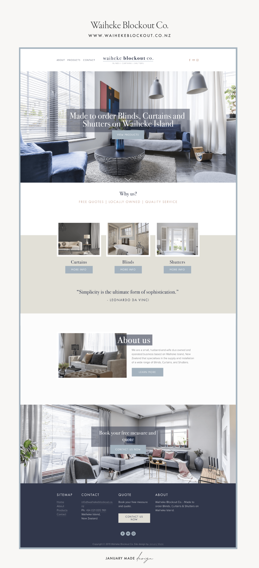 Waiheke Blockout Co. Website by January Made Design