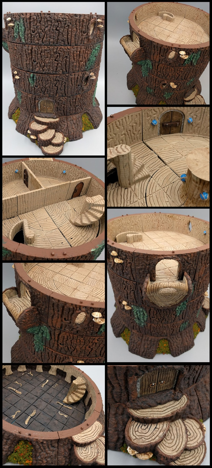 Playable Tree Strongholds -  The trees of Oakenspire are a modular OpenLOCK system made of tiles to build your own customizable tree strongholds. The tree system has tiles to build circular trees 8x8
