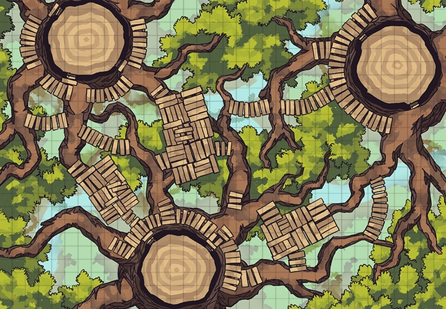 Treetop platform map - Explore or fight your way through the tops of the Oakenspire trees!