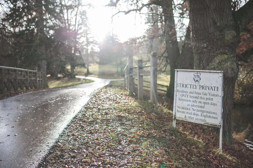 Shot of the driveway of Walcot Hall on the morning of our wedding, photo courtesy of Olivia Moon Photography