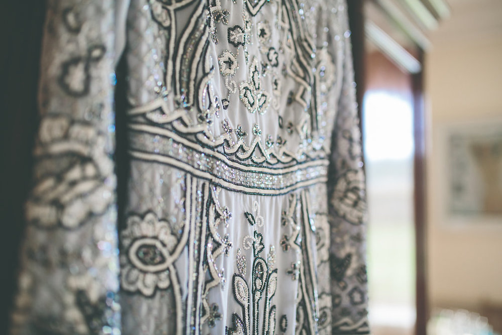 My lovely embellished dress from Needle & Thread - and my something blue! Photo courtesy of Olivia Moon Photography