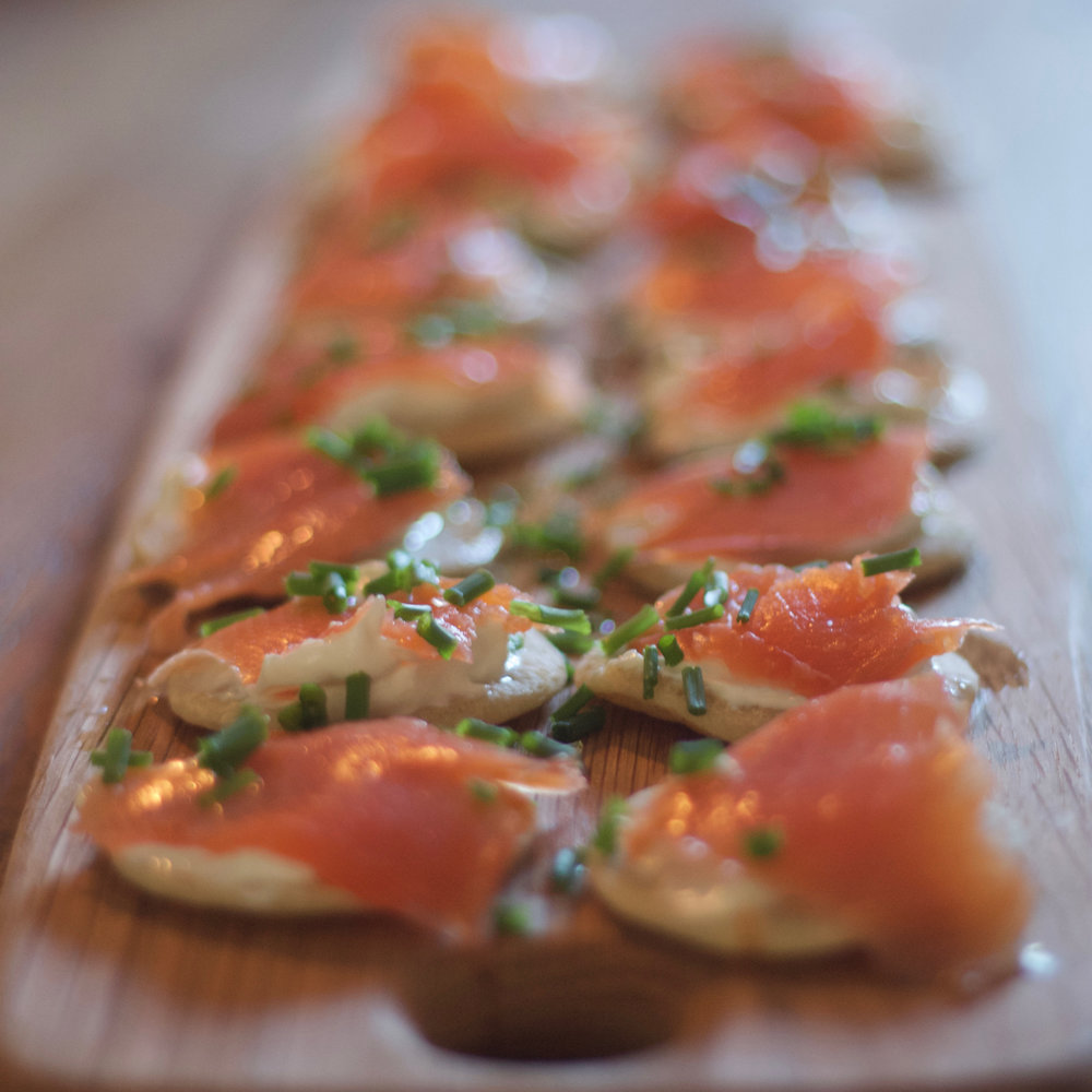 Our posh smoked salmon blini planning breakfast