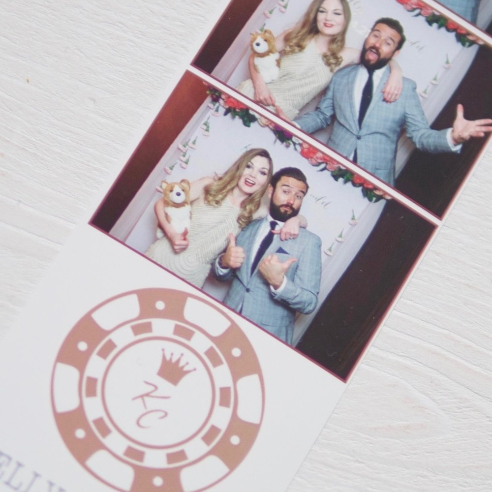 Hopewell and her husband in the wedding photobooth!