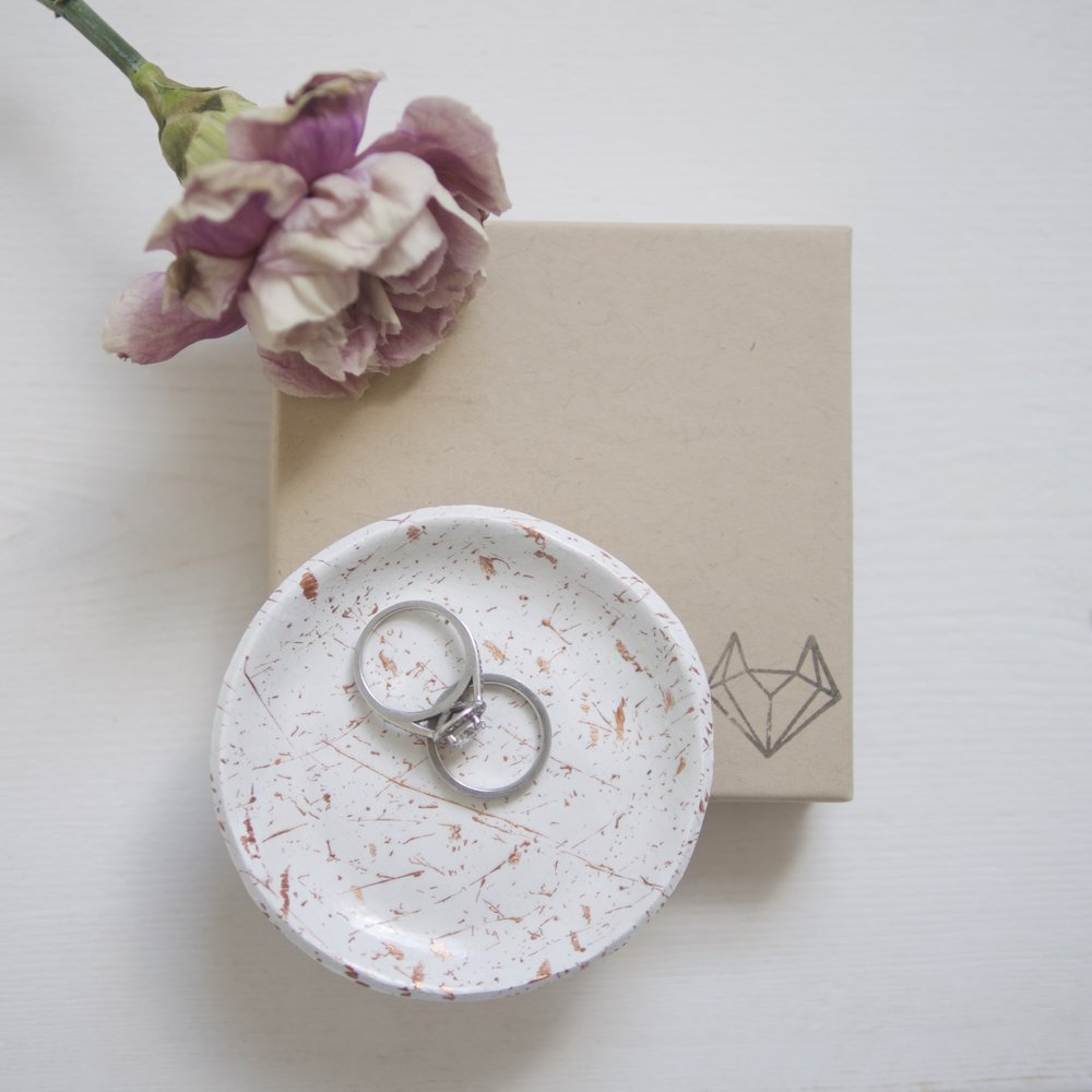 Fox & Lilly clay ring dish with Hopewell's engagement and wedding rings