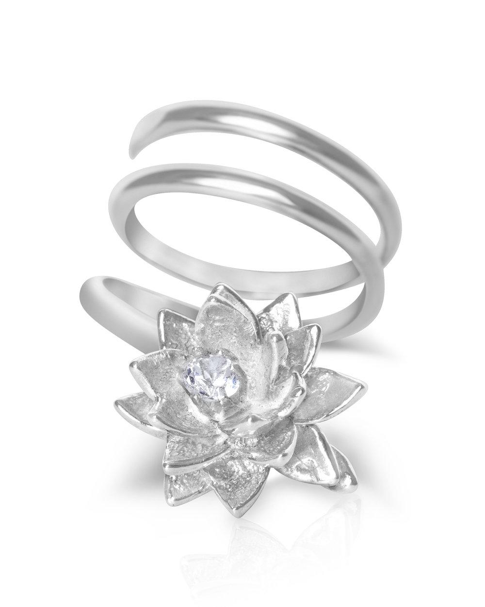 Silver Lotus Flower Ring With Gemstone