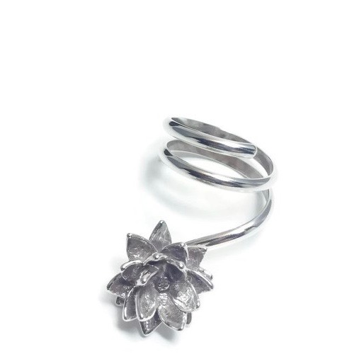 2325747dd32db0 Lotus Blossom Thumb Ring by Charming Little Lotus | Sterling Silver Thumb  Ring | Thumb Rings