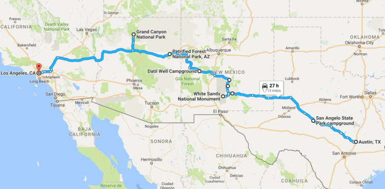 Southwest Road Trip Austin To Los Angeles JUNIPERMAGPIE - Southwestern us national parks map