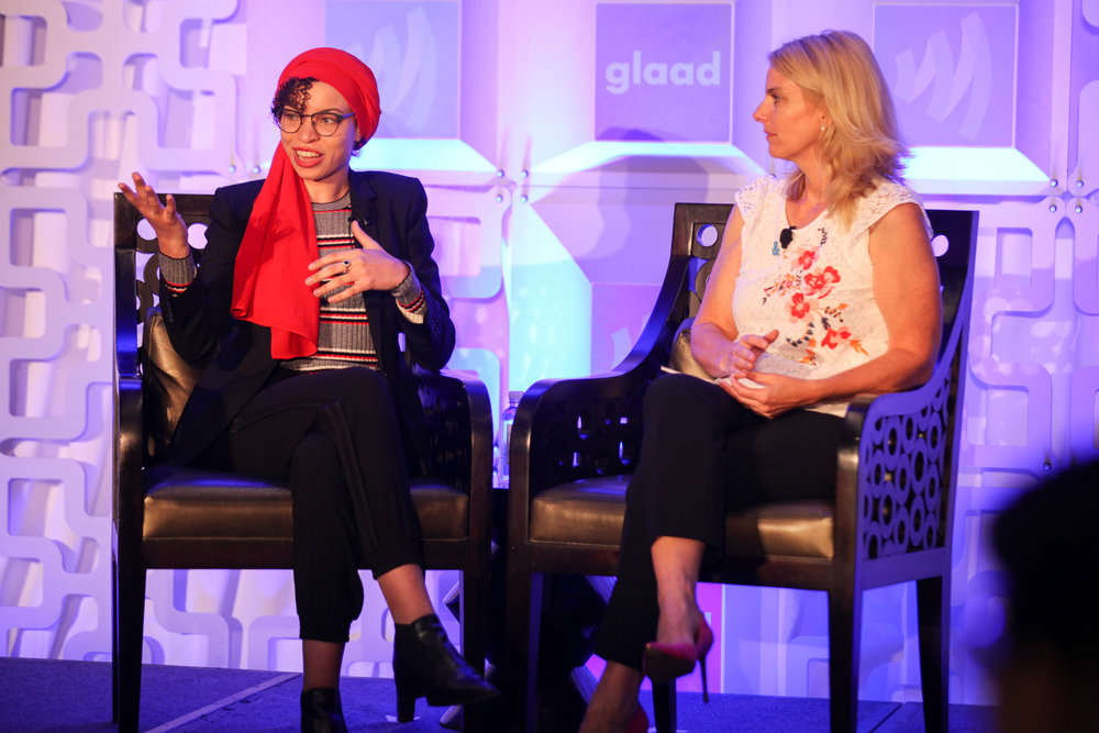 Rising Stars - Blair Imani joins GLAAD President, Sarah Kate Ellis,for an interview during the Rising Stars Luncheon in San Francisco.