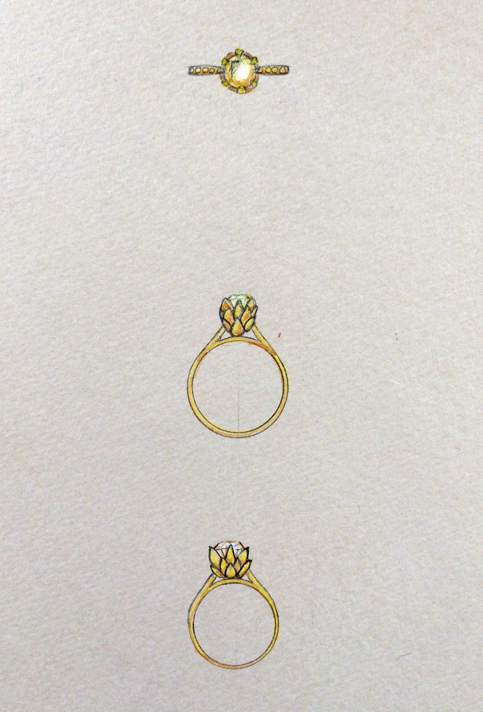 Sakura Haru artichoke ring sketch