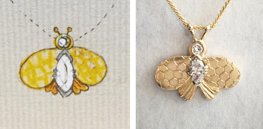 sketch to final bee pendant