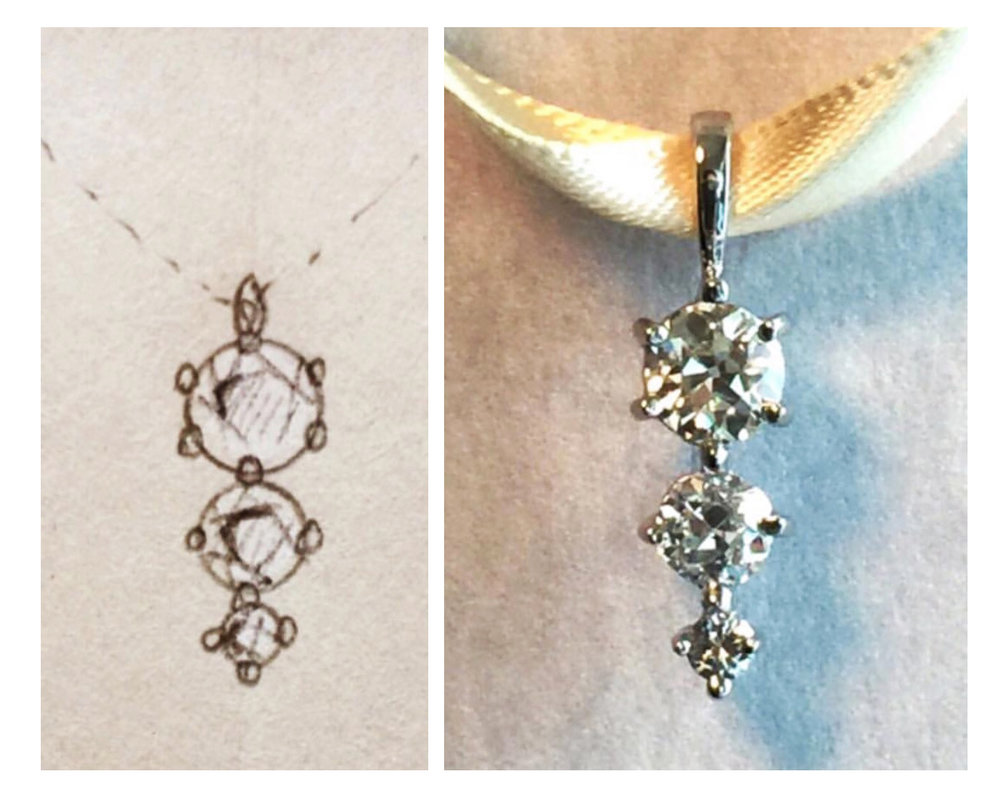 re-cut antique diamond sketch to final