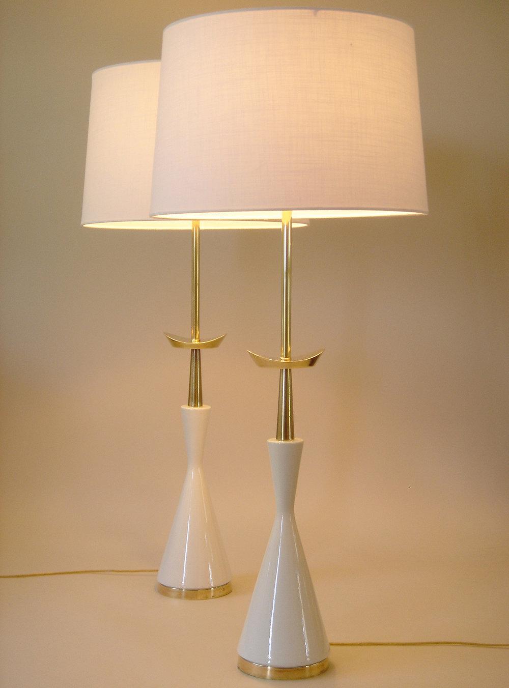 Tommi Parzinger Stiffel Atomic Porcelain Lamp Pair