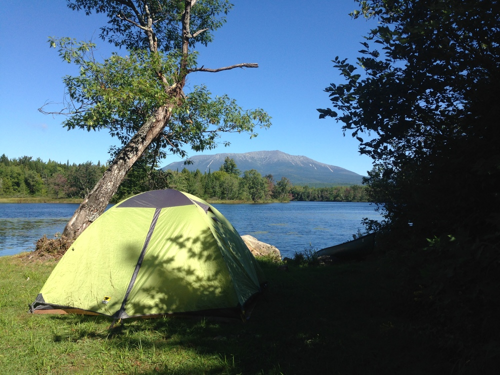 My actual favorite campsite in view of Mount Katahdin.