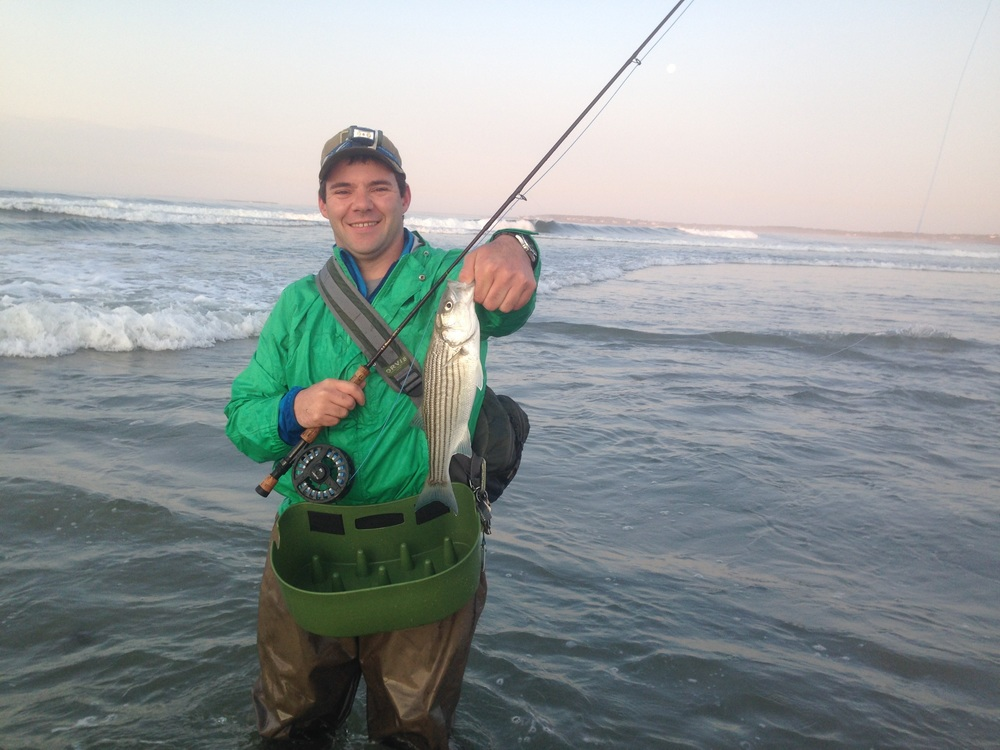 Anadromous Adventures guide and owner, Zach, with an early season schoolie from the beach.