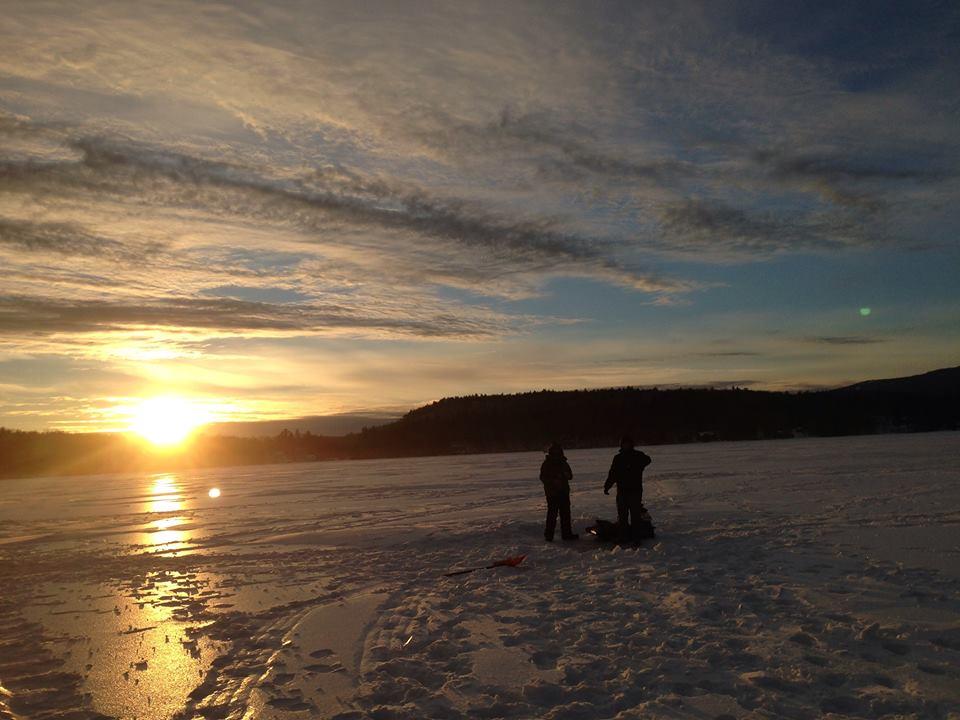 Keewaydin Lake at sunset in January.