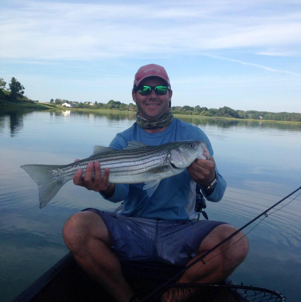 Zach Whitener holding a beauty of a striper from a salt marsh in southern Maine.