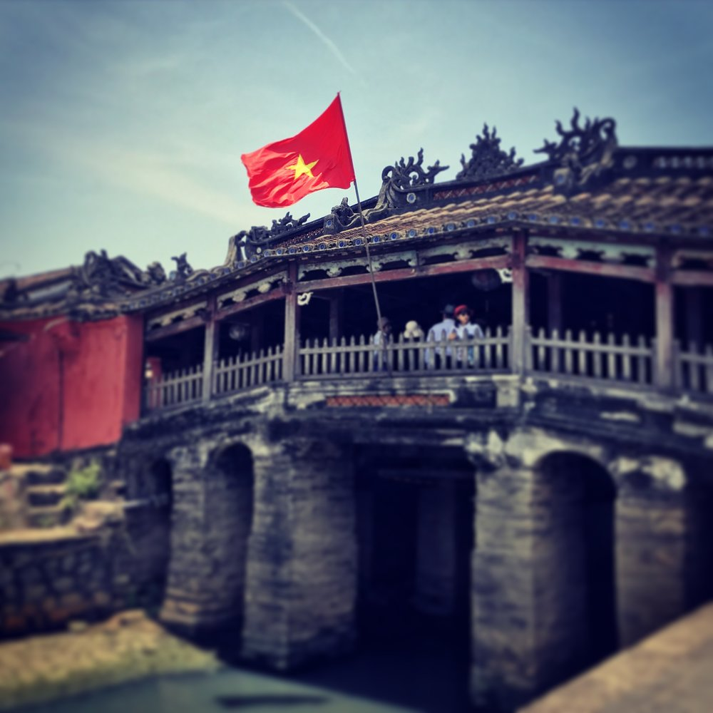 Vietnamese flag flying in Hoi An