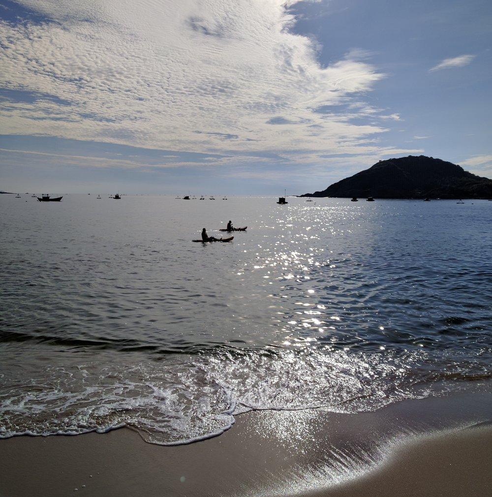 Kara and Nicole kayaking at the Avani resort