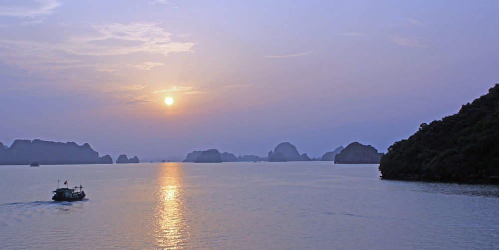 A view from our cruise boat in Halong Bay