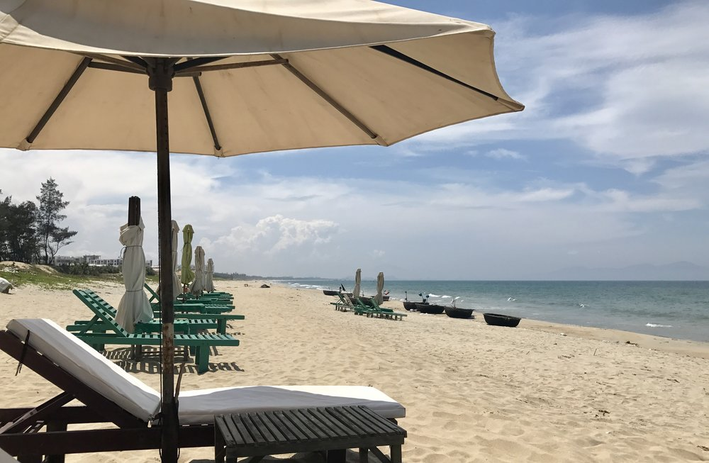 Our daily spot on An Bang beach near Hoi An