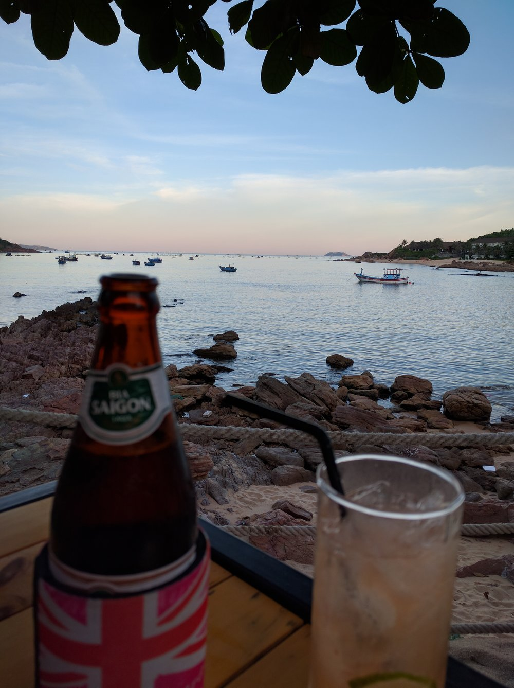 Happy hour in the Bai Xep village; The resort where we stayed is off to the right in the distance