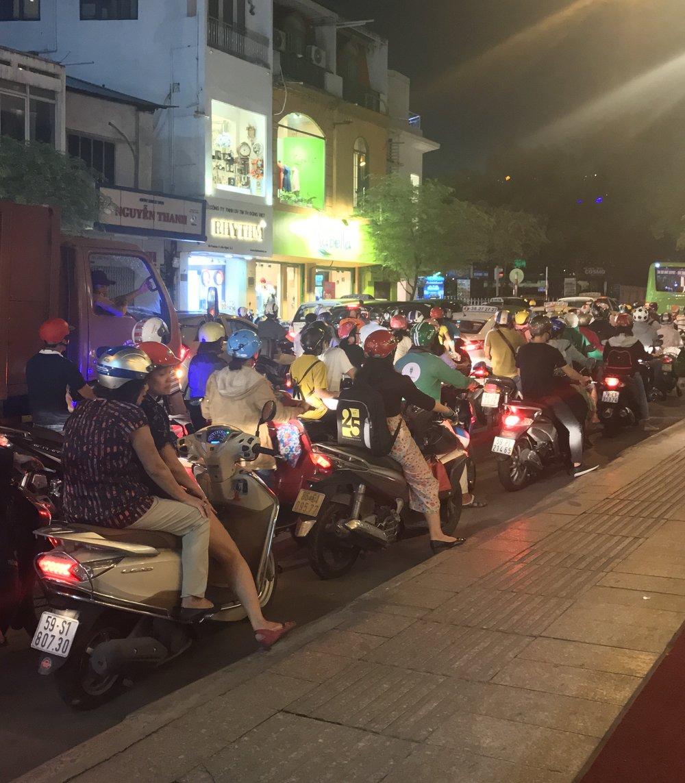 Nighttime traffic in Saigon