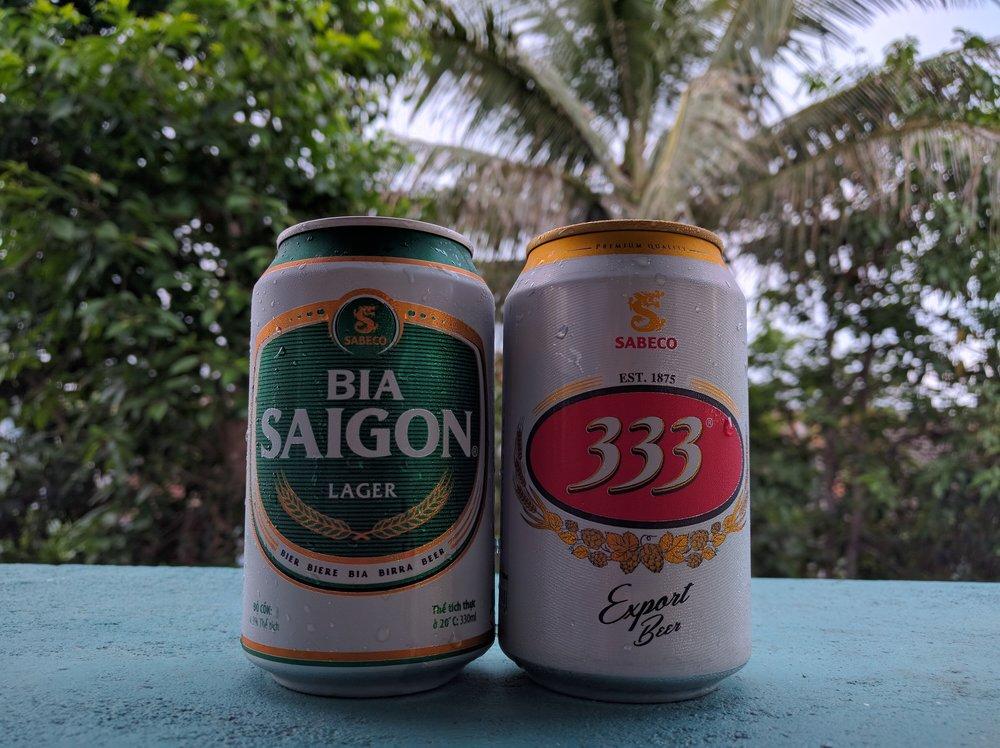 Two of Vietnam's more popular beers