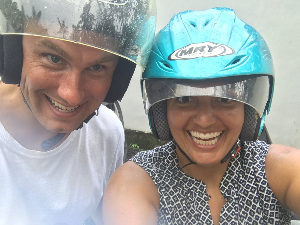 Nicole and I are excited about Ubud -- and the helmets provided with our scooter rental were the best we've had on our trip thus far :)