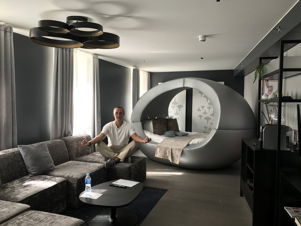 Our funky room at the Klaus K Hotel
