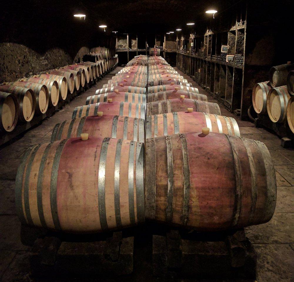 Barrel room at Domaine Gerard Quivy