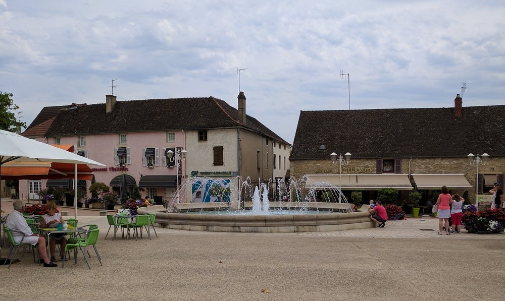 Santenay's town square